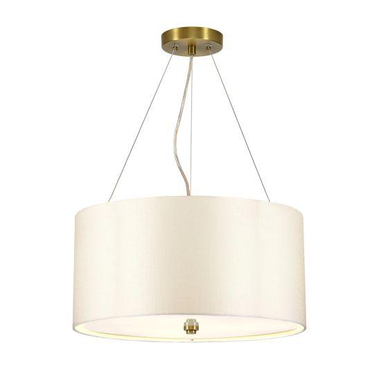 "Designer's Lightbox Pearce 18"" Pendant with Aged Brass Ceiling Pan DL-PEARCE18-3LT-IV-AB"