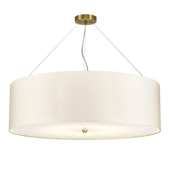"Designer's Lightbox Pearce 34"" Pendant with Aged Brass Ceiling Pan DL-PEARCE34-7LT-IV-AB"