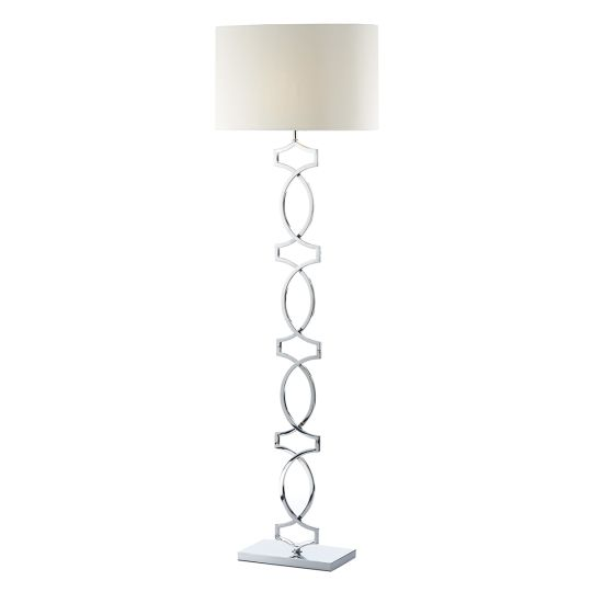 Dar Lighting Donovan Floor Lamp Polished Chrome complete with Shade DON4950