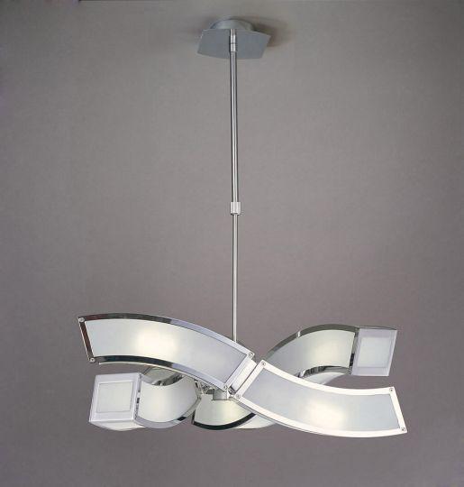 Mantra M0389 Duna E27 Pendant 3 Arm 6 Light E27 Polished Chrome/White Acrylic