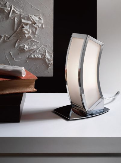 Mantra M0395 Duna E27 Table Lamp 1 Light E27 Polished Chrome/White Acrylic