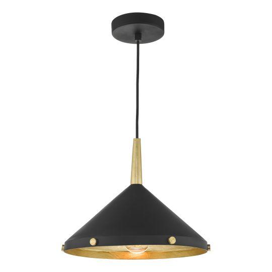 Dar Lighting Edena 1 Light Pendant Matt Black And Gold Leaf EDE0154