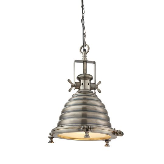 Endon Collection Gaskell Tarnished Silver & Clear Glass 1 Light Pendant Light EH-GASKELL