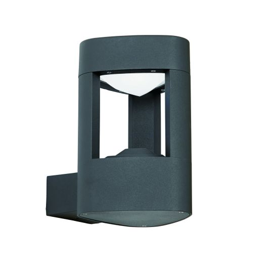 Saxby Lighting Textured Dark Grey Paint & Frosted Acrylic Tribeca 1 Light Wall Ip54 8W Outdoor Wall Light EL-40074