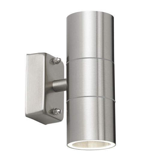 Endon Lighting Canon Polished Stainless Steel & Clear Glass 2 Light Outdoor Wall Light EL-40095