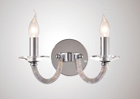 Diyas IL30512 Elena Wall Lamp Switched 2 Light Polished Chrome/Crystal