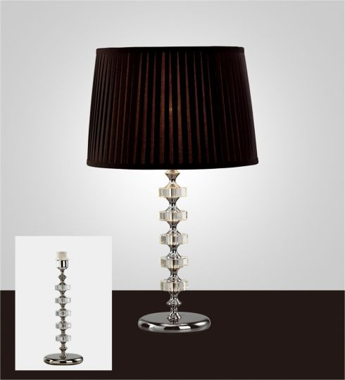 Diyas IL11023 Elenor Crystal Table Lamp Without Shade 1 Light Silver Finish