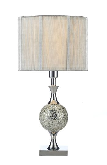 Dar Lighting ELS4239 - Elsa Table Lamp Silver Mosaic complete with Silver String Shade
