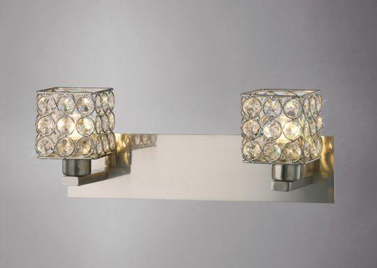Diyas IL20640 Elsa Wall Lamp 2 Light Satin Nickel/Crystal