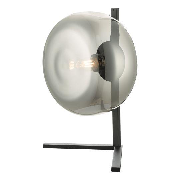 Dar Lighting Erla Table Lamp Smoked Glass And Matt Black ERL4110
