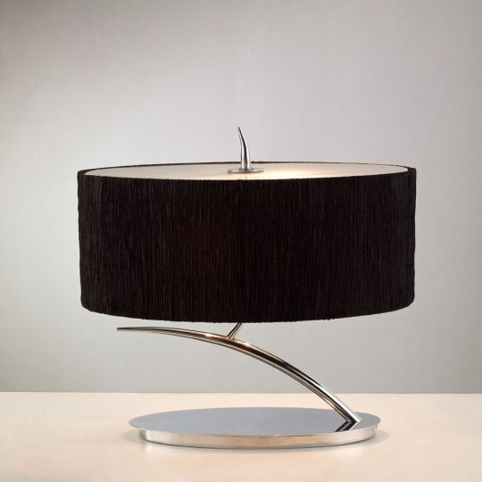 Mantra M1138/BS Eve Table Lamp 2 Light E27 Small Polished Chrome With Black Oval Shade