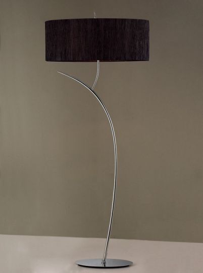 Mantra M1139/BS Eve Floor Lamp 2 Light E27 Polished Chrome With Black Oval Shade