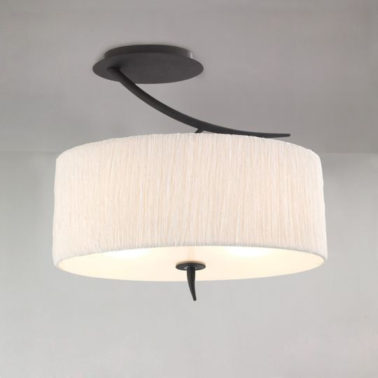 Mantra M1152 Eve Semi Ceiling 2 Light E27 Antracite With White Oval Shade