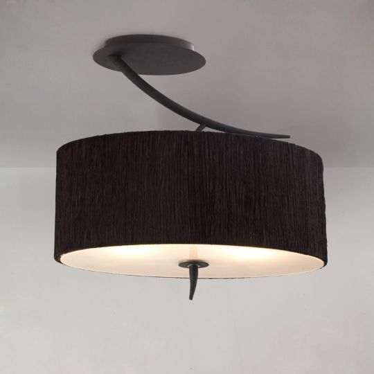 Mantra M1152/BS Eve Semi Ceiling 2 Light E27 Antracite With Black Oval Shade