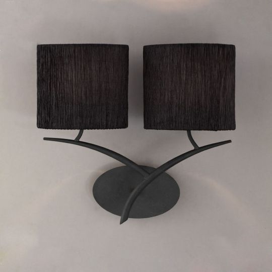 Mantra M1155/BS Eve Wall Lamp 2 Light E27 Antracite With Black Oval Shades