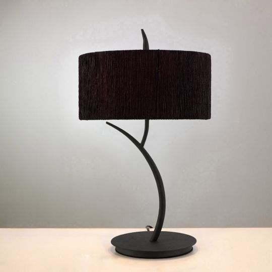 Mantra M1157/BS Eve Table Lamp 2 Light E27 Large Antracite With Black Round Shade