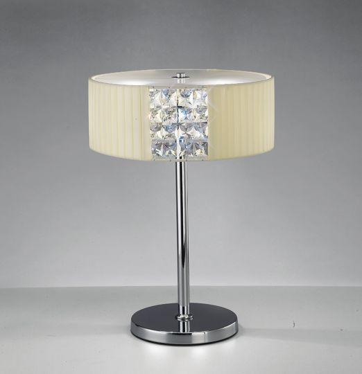 Diyas IL31170/CR Evelyn Table Lamp Round With Cream Shade 2 Light Polished Chrome/Crystal