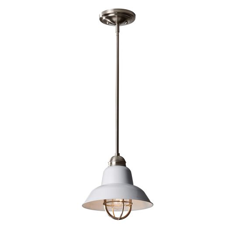 Feiss Urban Renewal 1 Light Mini Pendant - Brushed Steel/Glossy White FE-URBANRWL-P-G