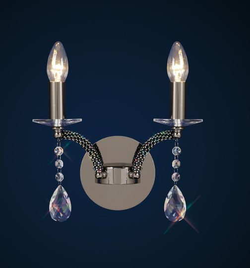 Diyas Lighting - Fiore Switched Wall 2 Light Black Chrome/Crystal - IL30362