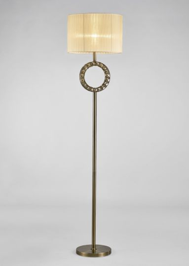 Diyas IL31531 Florence Round Floor Lamp With Cream Shade 1 Light Antique Brass/Crystal