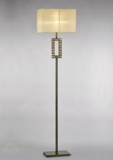Diyas IL31533 Florence Rectangle Floor Lamp With Cream Shade 1 Light Antique Brass/Crystal