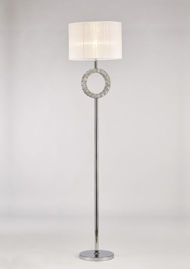 Diyas IL31535 Florence Round Floor Lamp With White Shade 1 Light Polished Chrome/Crystal