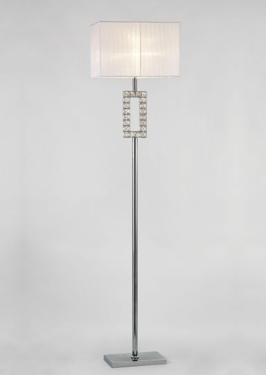 Diyas IL31537 Florence Renctangle Floor Lamp With White Shade 1 Light Polished Chrome/Crystal