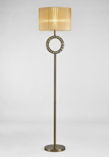Diyas IL31721 Florence Round Floor Lamp With Soft Bronze Shade 1 Light Antique Brass/Crystal