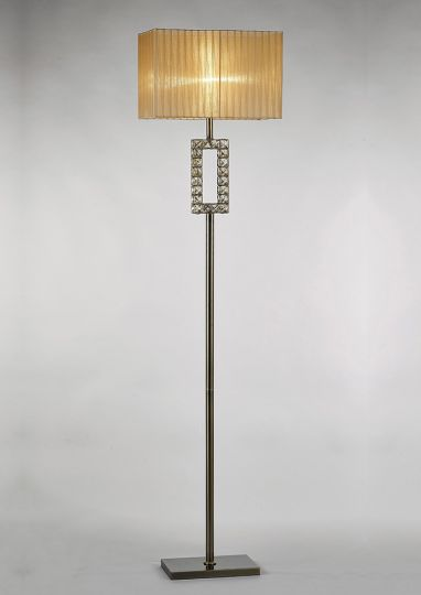 Diyas IL31723 Florence Rectangle Floor Lamp With Soft Bronze Shade 1 Light Antique Brass/Crystal