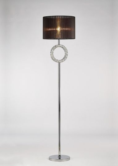 Diyas IL31725 Florence Round Floor Lamp With Black Shade 1 Light Polished Chrome/Crystal