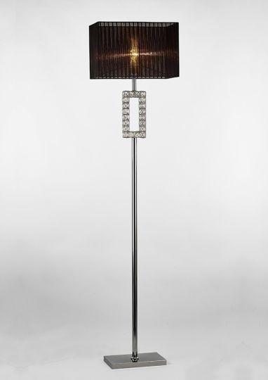 Diyas IL31727 Florence Renctangle Floor Lamp With Black Shade 1 Light Polished Chrome/Crystal