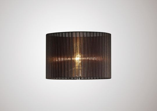 Diyas ILS31725 Florence Round Organza Shade Black 380mm x 260mm Suitable For Floor Lamp