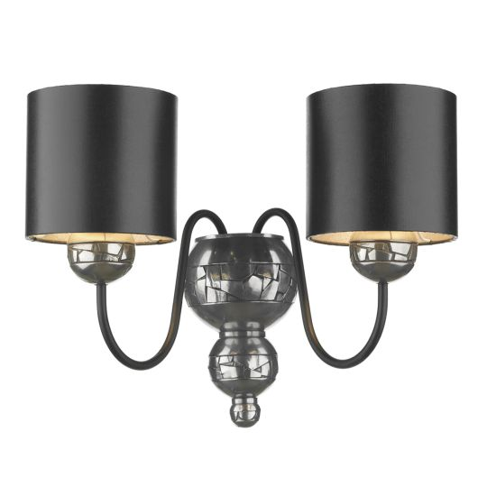 DAR Lighting - GARBO DOUBLE WALL BRACKET COMPLETE WITH BLACK/SILVER SHADE - GAR0921