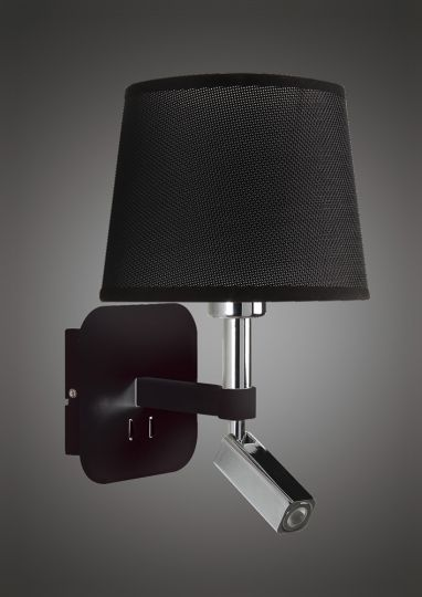 Mantra M5317 Habana Wall Lamp 1 Light Without Shade E27 + Reading Light 3W LED Black/Polished Chrome 3000K 200lm 3yrs Warranty