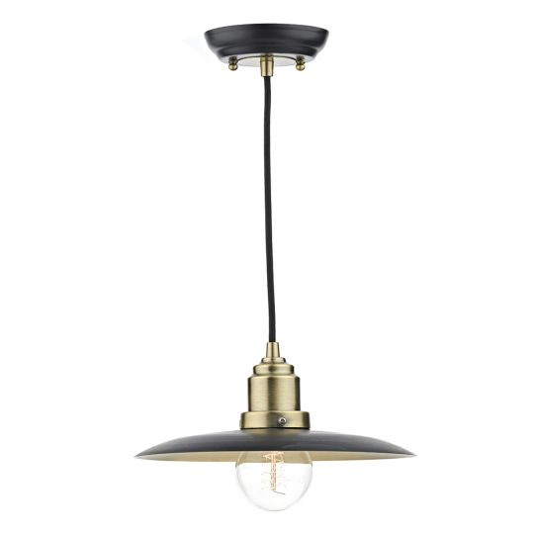 Dar Lighting Hannover 1 Light Pendant Black/Antique Brass HAN0154