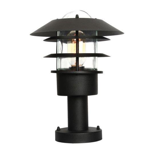 Elstead Lighting Helsingor 1 Light Pedestal Lantern - Black HELSINGOR-PED-BK