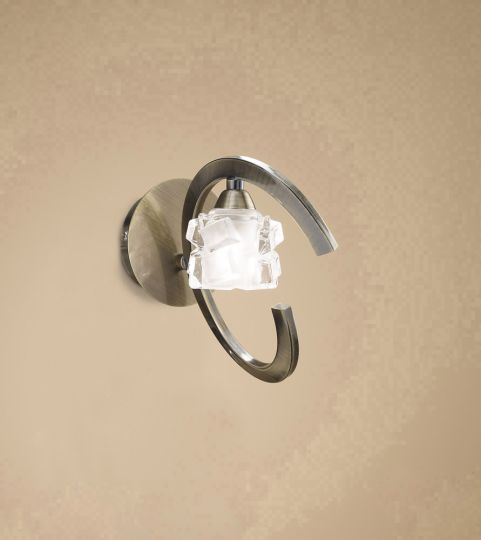 Mantra M1865/S Ice Wall Lamp Switched 1 Light G9 ECO Antique Brass