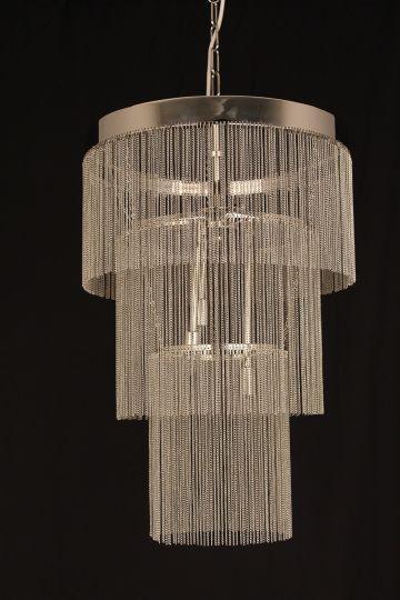 Impex STH401142/06/CH Chain Art Series Decorative 6 Light Chrome Ceiling Light