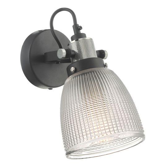 Dar Lighting Ismet Wall Light Black Polished Chrome And Textured Glass ISM0722