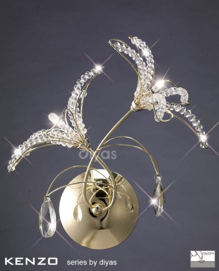 Diyas Lighting IL30891 - Kenzo Wall Lamp Switched 2 Light French Gold/Crystal