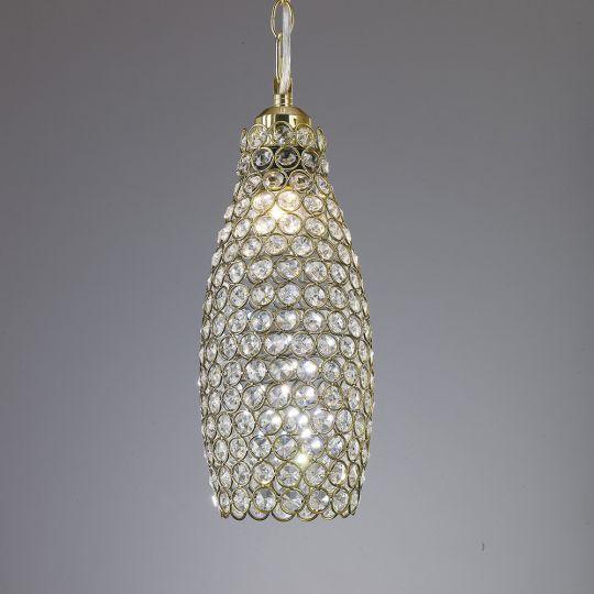 Diyas IL60033 Kudo Crystal Drum Shade Non-Electric Antique Brass/Crystal