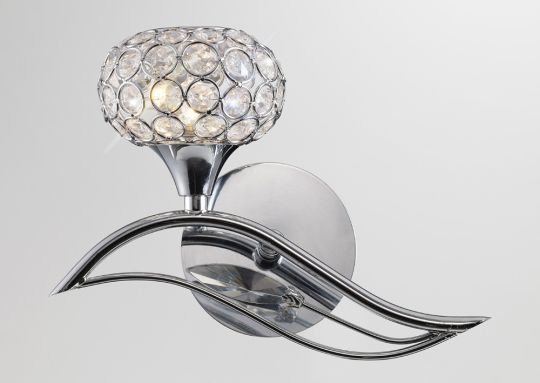 Diyas IL30951/L Leimo Wall Lamp Switched 1 Light Left Polished Chrome/Crystal