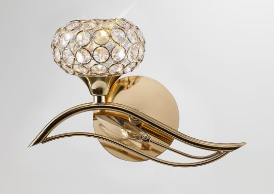 Diyas IL30961/L Leimo Wall Lamp Switched 1 Light Left French Gold/Crystal