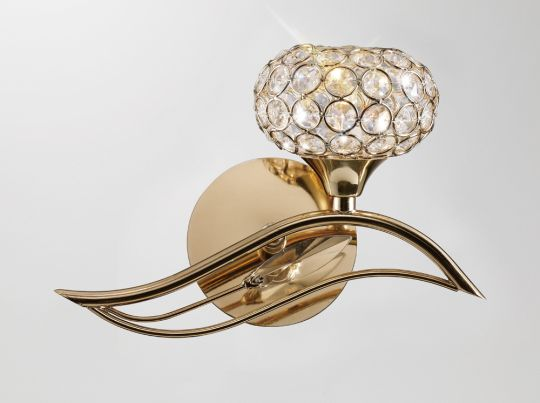 Diyas IL30961/R Leimo Wall Lamp Switched 1 Light Right French Gold/Crystal