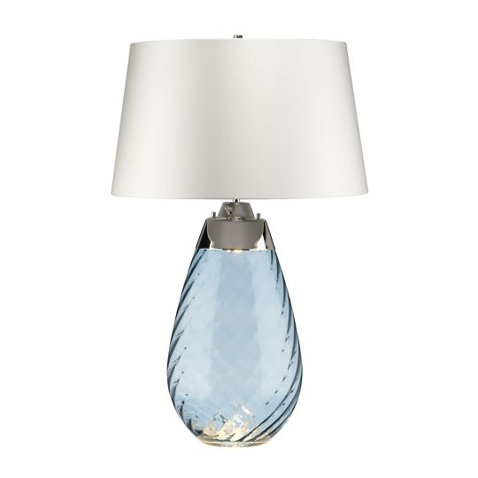 Elstead Lighting Lena 2 Light Large Blue Table Lamp with Off-white Shade LENA-TL-L-BLUE-OWSS