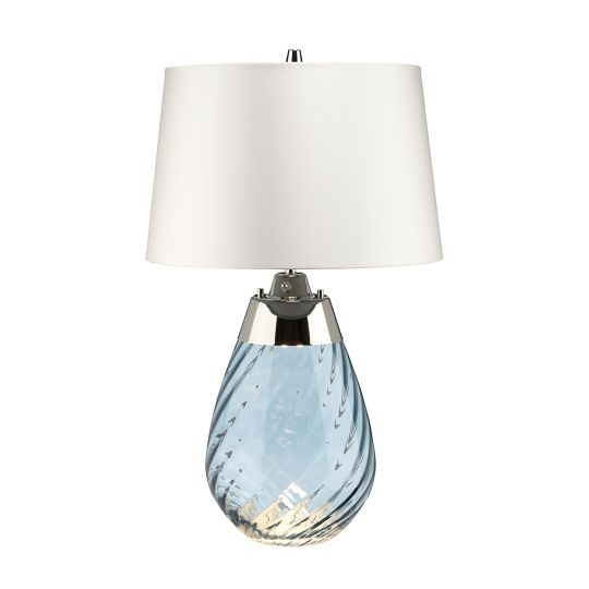 Elstead Lighting Lena 2 Light Small Blue Table Lamp  with Off-white Shade LENA-TL-S-BLUE-OWSS