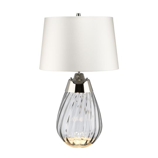 Elstead Lighting Lena 2 Light Small Smoke Table Lamp with Off-white Shade LENA-TL-S-SMOKE-OWSS