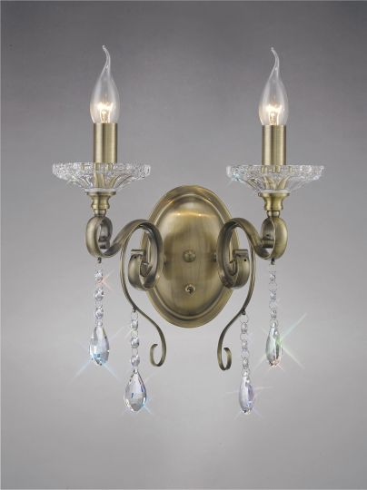 Diyas IL32072 Libra  Wall Lamp Switched 2 Light Antique Brass/Crystal