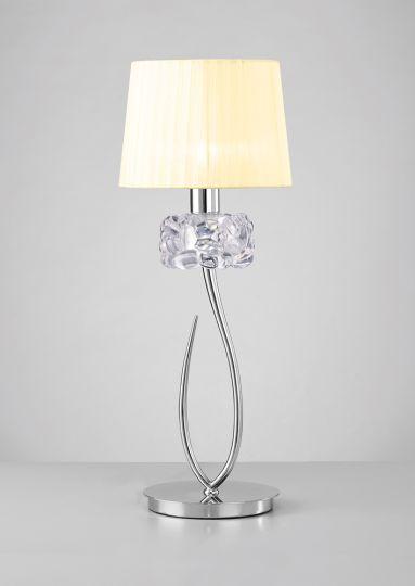 Mantra M4636 Loewe Table Lamp 1 Light E27 Big Polished Chrome With Cream Shade