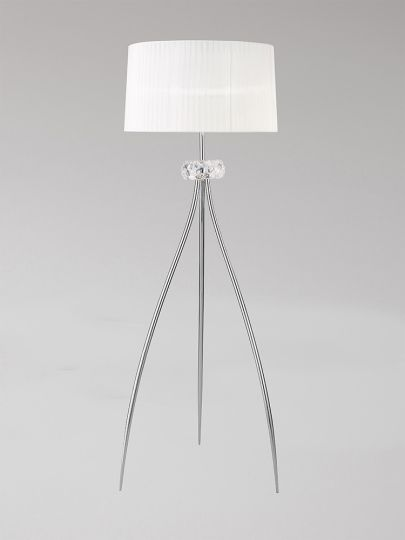 Mantra M4638 Loewe Floor Lamp 3 Light E27 Polished Chrome With White Shade